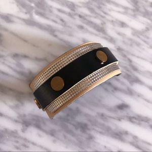 FIRM! NEW Balenciaga Leather & Metal Cuff Bracelet